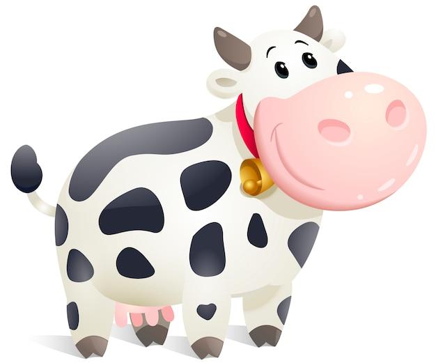 Cute cartoon chubby cow.