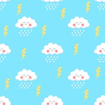 귀여운 만화 구름과 비 원활한 패턴