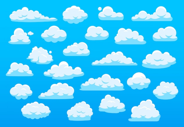 Cute cartoon clouds. blue sky with cute cartoon cloud, nature white clouds, fluffy cloudscape heaven panorama white clouds of different shape  illustration set. overcast elements bundle