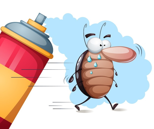 Cute cartoon cockroach characters. Premium Vector