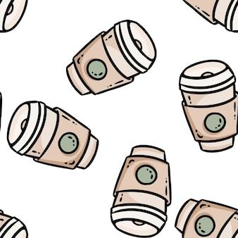 かわいい漫画のコーヒーカップは、シームレスなボーダーパターンを落書きします。ベクトルの繰り返し可能な背景テクスチャタイル。ラッピングデザイン、壁紙のストックイラストの居心地の良いテンプレート Premiumベクター