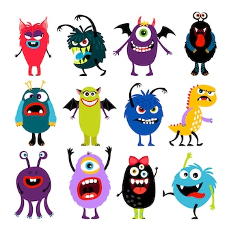 Cute cartoon colorful mosters with different emotions collection