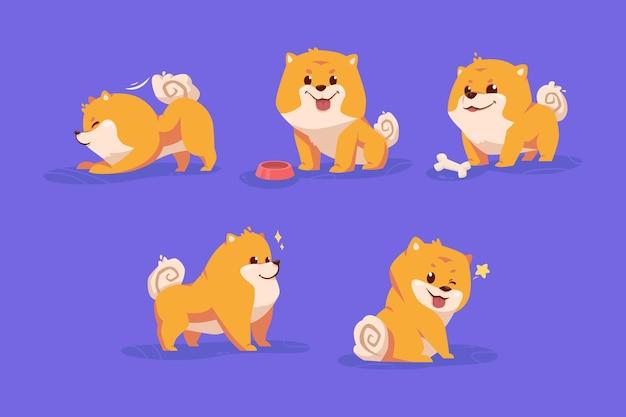 かわいい漫画のカラフルなポメラニアン犬のキャラクターコレクションセット