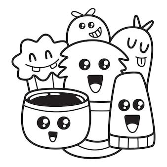 Милый мультфильм раскраски каракули дизайн иллюстрация