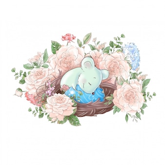 Cute cartoon composition mouse in a nest with easter eggs and delicate roses