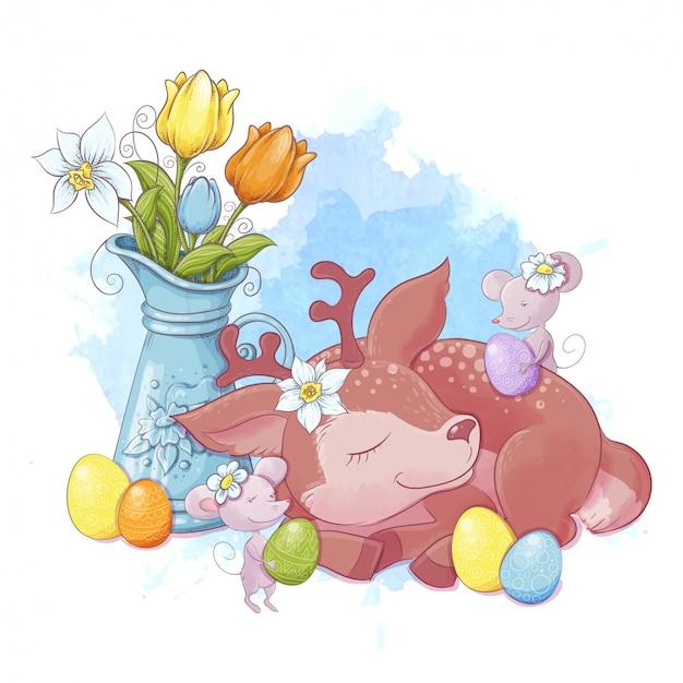 Симпатичная мультипликационная композиция из букета тюльпанов и спящего оленя с мышами и с разноцветными пасхальными яйцами. векторная иллюстрация