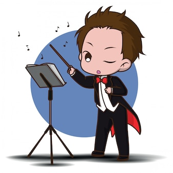 Cute cartoon conductor in black tailcoat with notes