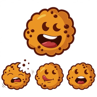 Cute cartoon cookies with different emotions set.