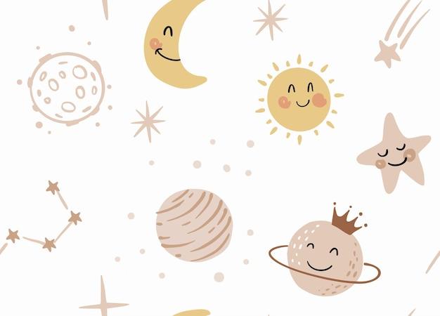 かわいい漫画の宇宙のシームレスなパターン。惑星、太陽、流れ星。保育園のためのコスモスキッズアートデザイン