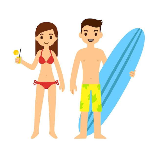 Cute cartoon couple on a beach girl holding cocktail glass and guy with a surfboard. isolated on white background.