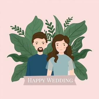 Cute cartoon couple bride and groom