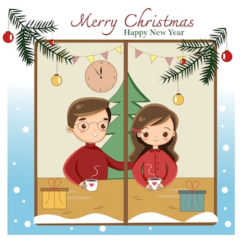 Cute cartoon couple celebrating christmas festival at home
