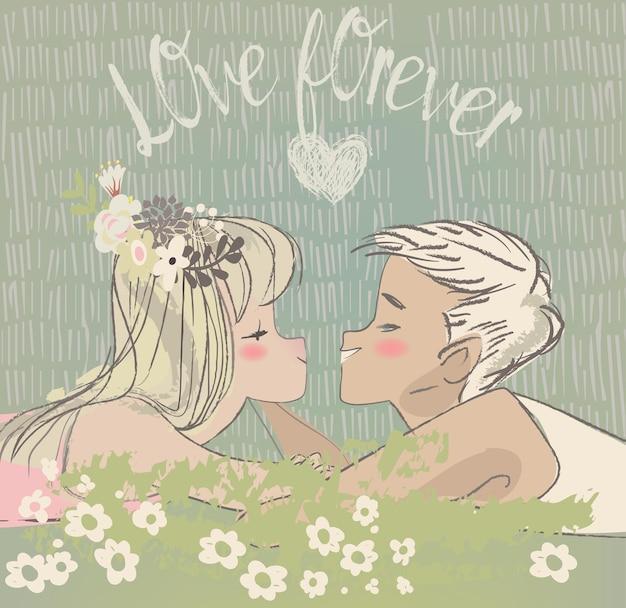 愛のかわいい漫画のカップル-バレンタインデーのカード