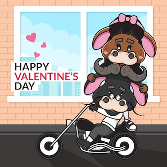 Cute cartoon couple ox riding motorcycle and happy valentine's day