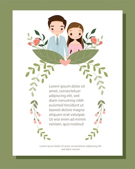 Cute cartoon couple for wedding invitation card with flower border frame