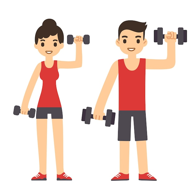 운동 아령과 귀여운 만화 커플입니다. 현대적인 단순한 평면 스타일.