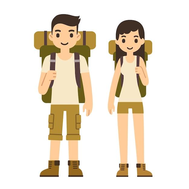 白い背景で隔離のハイキング用品とかわいい漫画のカップル。モダンでシンプルなフラットスタイル。