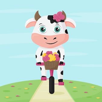 Милый мультфильм корова на велосипеде