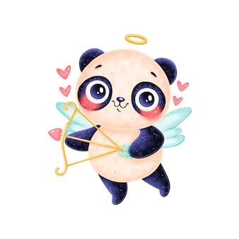 Милый мультяшный купидон панда изолированы. день святого валентина животные.