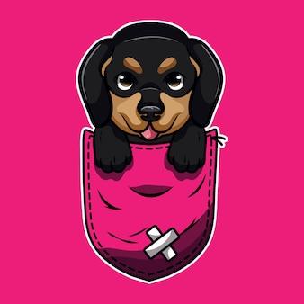 Cute cartoon a dachshund in a pocket
