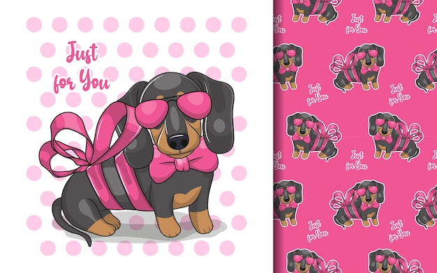 Cute cartoon dachshund with ribbon and pattern set
