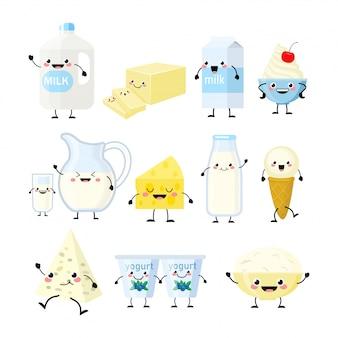 Симпатичные карикатуры персонажей молочных продуктов, изолированные на белом
