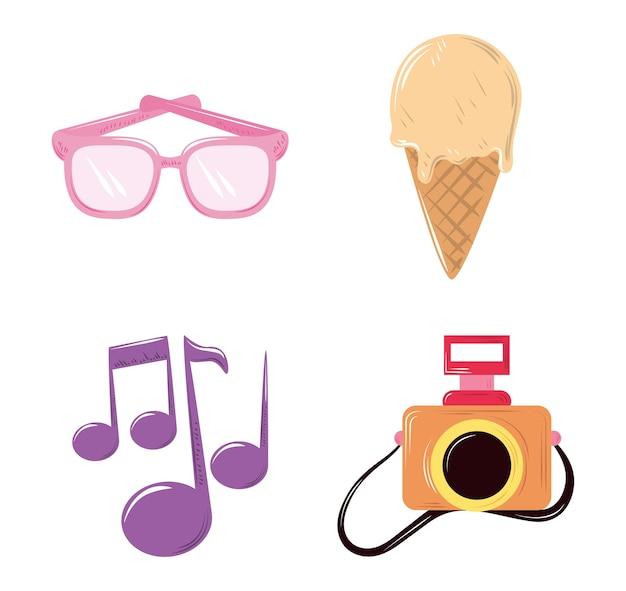 Милый мультфильм украшения камеры очки мороженое иконки