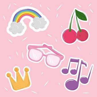 Милый мультфильм украшения очки корона радуга значки