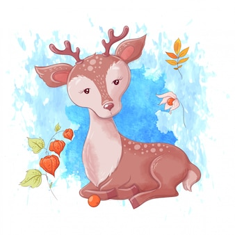 Cute cartoon deer, autumn and leaves.