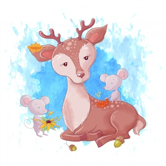 Cute cartoon deer and autumn leaves