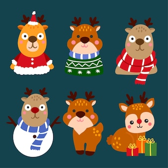 Cute cartoon deer collection, chistmas concept.