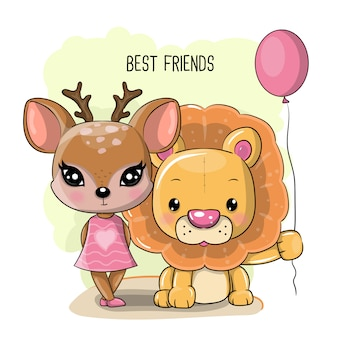 Cute cartoon deer and lion on a white background