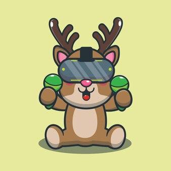 バーチャルリアリティゲームをプレイするかわいい漫画の鹿