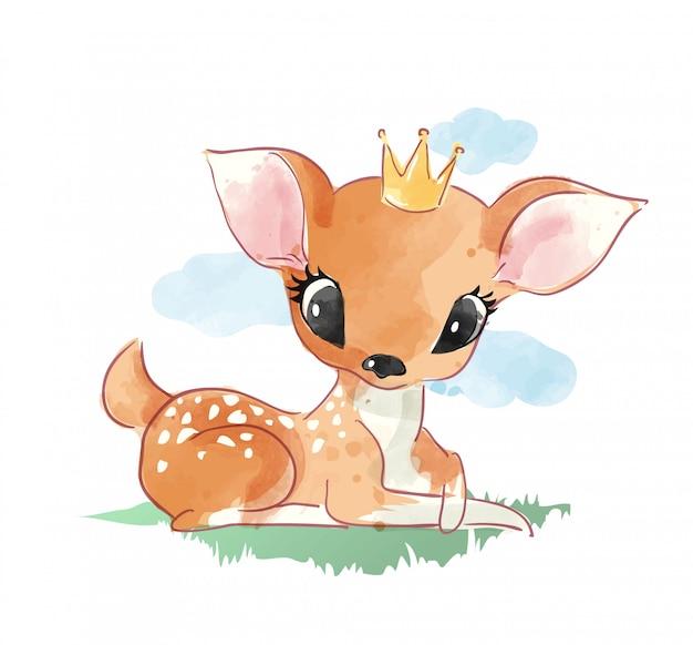 Cute cartoon deer sitting on the grass illustration
