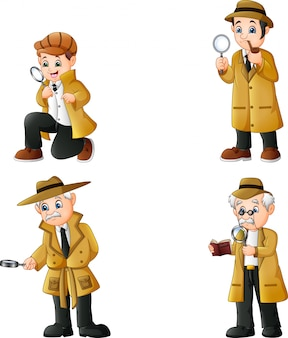 Cute cartoon detectives collection set