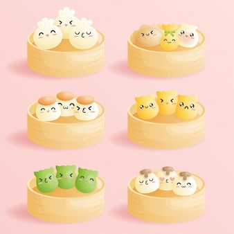 귀여운 만화 딤섬, 이모티콘 웃는 얼굴이있는 중국 전통 만두. 귀여운 아시아 음식 그림.