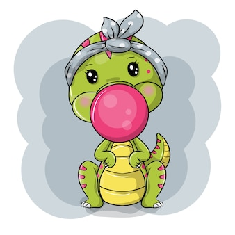 Cute cartoon dino on white background