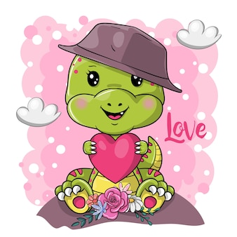 Cute cartoon dino with heart on pink background