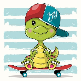 Cute cartoon dino with skateboard on white background