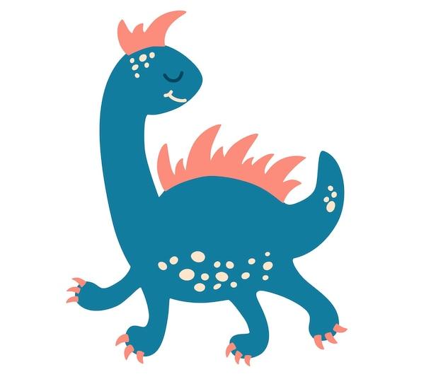 かわいい漫画の恐竜。子供向け、カード、プリント、ポスター、ロゴ、カバーのベビーデザイン。白い背景で隔離のフラットスタイルのベクトル図