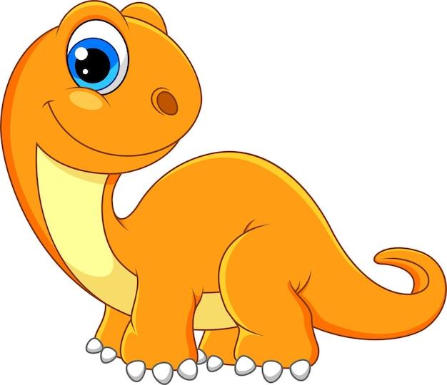 Милый мультяшный динозавр, изолированные на белом фоне