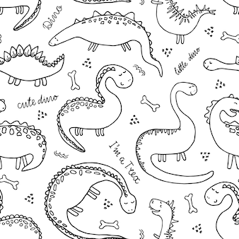 Cute cartoon dinosaur vector seamless background in doodle style.
