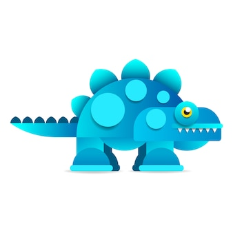Cute cartoon dinosaur on white background