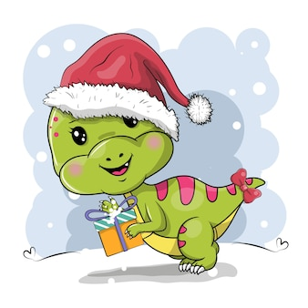 Cute cartoon dinosaur with christmas hat on a white background
