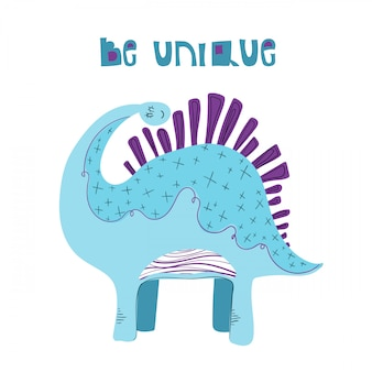 Cute cartoon dinosaur with lettering on white