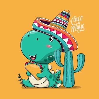 Милый мультяшный динозавр с мексиканской шляпой и тако. синко де майо