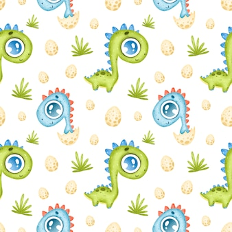 Cute cartoon dinosaurs seamless pattern