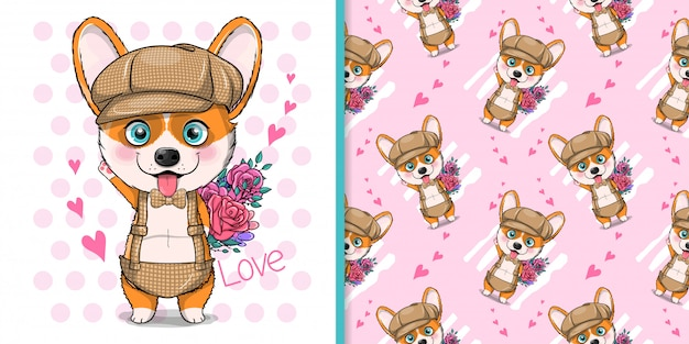 Cute cartoon dog corgi with flowers