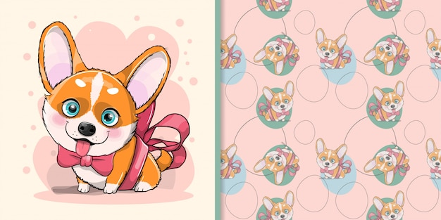 Cute cartoon dog corgi with ribbon