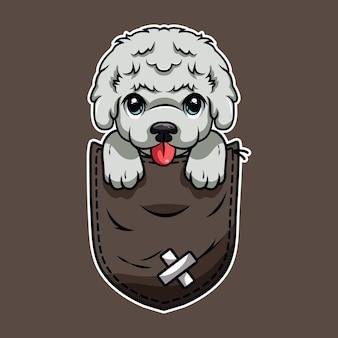 Милый мультфильм собака в кармане